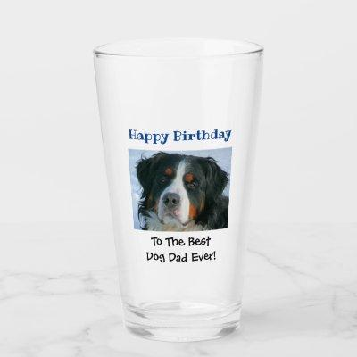 Birthday Dog Dad World's Best Ever Photo Beer Pint Glass