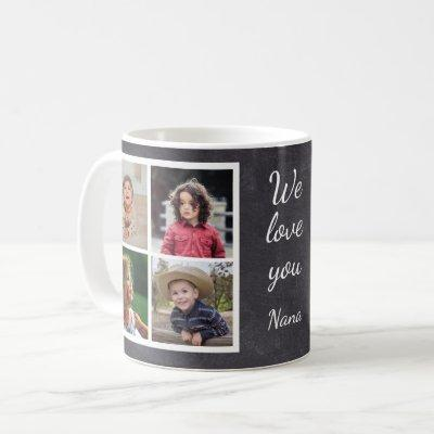 Black 8 Photo Collage  Grandma Chalkboard Coffee Mug