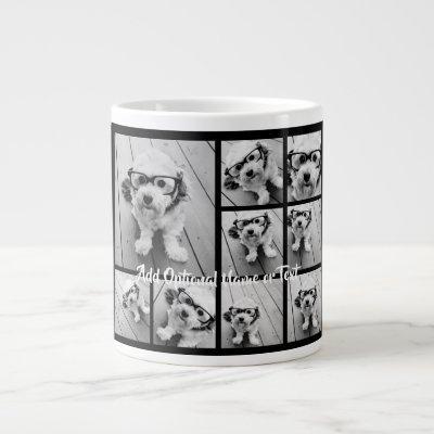 Black 9 Photo Square Collage - with script white Giant Coffee Mug