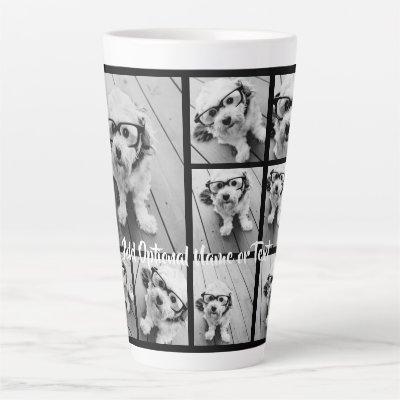 Black 9 Photo Square Collage - with script white Latte Mug