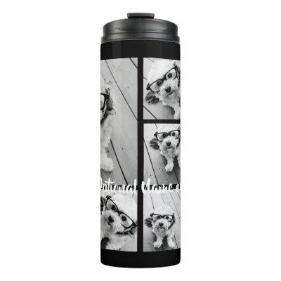 Black 9 Photo Square Collage - with script white Thermal Tumbler