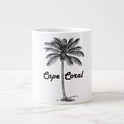 Black and White Cape Coral & Palm design Large Coffee Mug