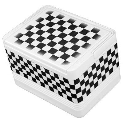 Black and White Checkerboard Checkered Flag Cooler