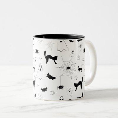 Black-and-white Halloween pattern Two-Tone Coffee Mug