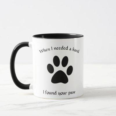 Black And White Paw Print Dog Photo Mug