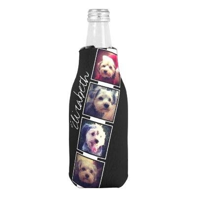 Black and White Photo Collage Squares Personalized Bottle Cooler