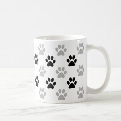 Black and white puppy paw prints coffee mug