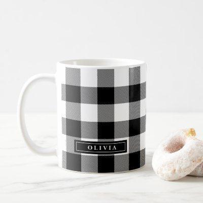 Black Buffalo Plaid Pattern Monogrammed Mug