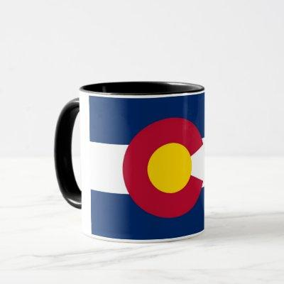 Black Combo Mug with flag of Colorado, USA