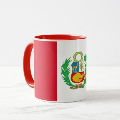 Black Combo Mug with flag of Peru
