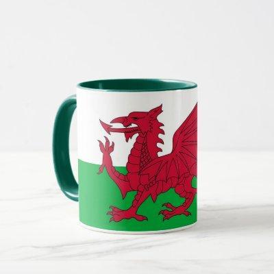Black Combo Mug with flag of Wales, UK