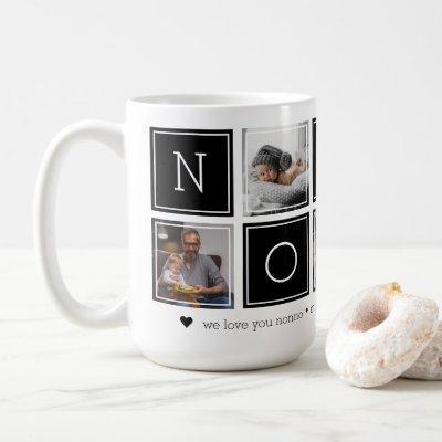 Black | Custom Nonno 5 Photo Colorblock Collage Coffee Mug