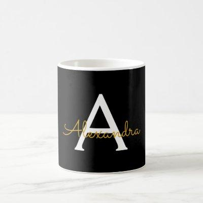 Black Gold Girly Script Monogram Name Modern Coffee Mug