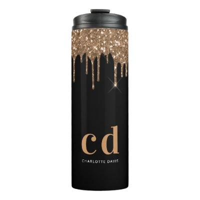 Black gold glitter drips monogram sparkle elegant thermal tumbler