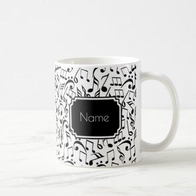 Black Music Notes on White Personalized Mug