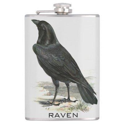 Black Raven Personalize Name Flask