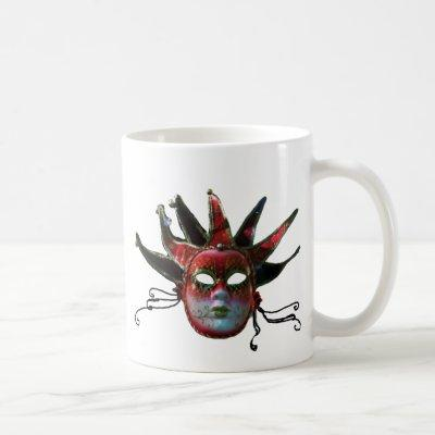 BLACK  RED JESTER MASK ,Masquerade Party Coffee Mug