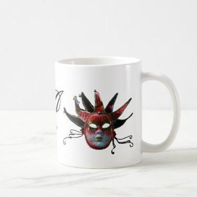 BLACK  RED JESTER MASK MONOGRAM ,Masquerade Party Coffee Mug