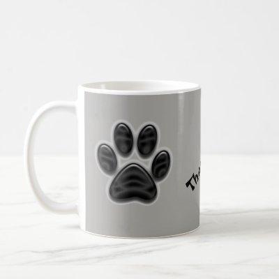 Black Shimmer Paw Print Thank You Animal Caregiver Coffee Mug
