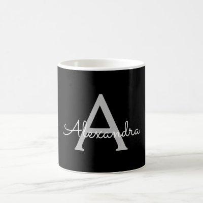 Black Silver Modern Script Girly Monogram Name Coffee Mug