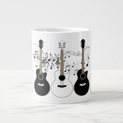 Black & White Acoustic Guitars & Musical Notes Mug