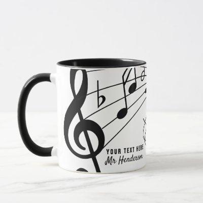 Black & White Custom Text Music Teacher/Student Mug