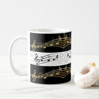 Black White Gold Music Notes Mug