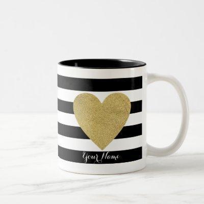 Black & White Stripes with Gold Foil Heart Two-Tone Coffee Mug