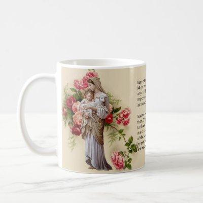 Blessed Virgin Mary Roses  Memorare Prayer Coffee Mug