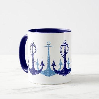 Blue anchors vintage nautical mug