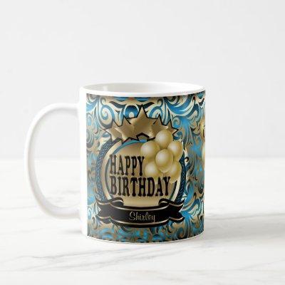 Blue and Gold Metallic Happy 00th Birthday Star Coffee Mug