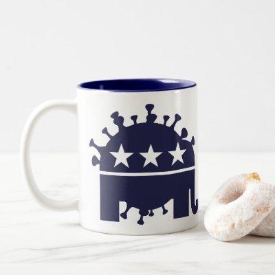 Blue/Blue Coronavirus  Elephant Two-Tone Mug