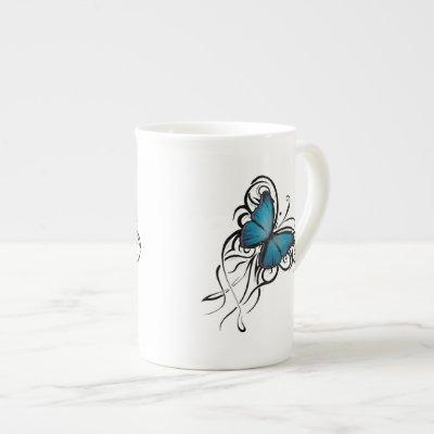 Blue Butterfly Grunge Tea Cup
