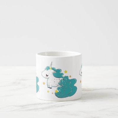 Blue color cartoon unicorns with stars baby mug