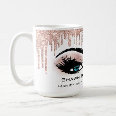 Blue Eyelashes Rose Sparkly Glitter Drips Makeup Coffee Mug