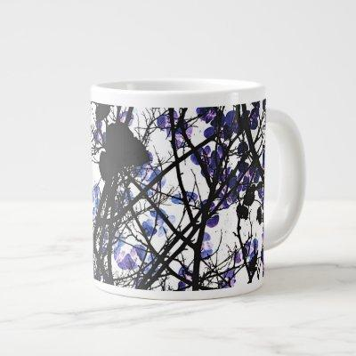 Blue flowers on winter tree concept digital art giant coffee mug
