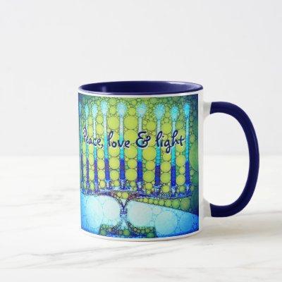"""Blue Green Hanukkah Menorah """"Peace, Love & Light"""" Mug"""