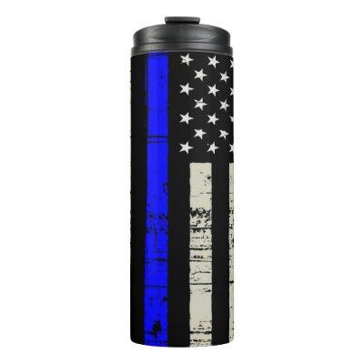 Blue Line Flag Poilice Support American USA Thermal Tumbler