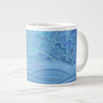 Blue Mandala Sunset at the Ocean Giant Coffee Mug