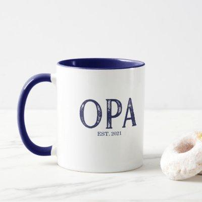 Blue Opa Year Established Mug