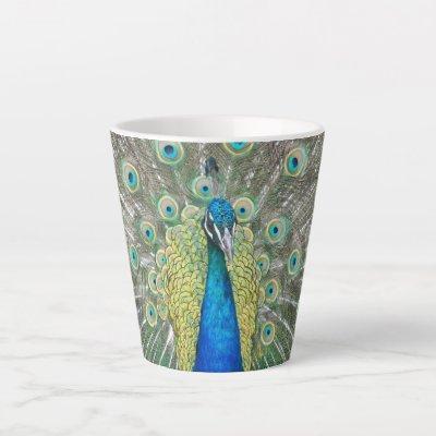 Blue Peacock Feather Plumage Photo Latte Mug