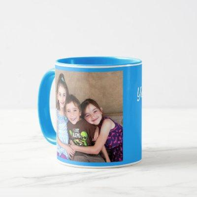 Blue Personalize PHOTO TEMPLATE Gift Coffee Mug
