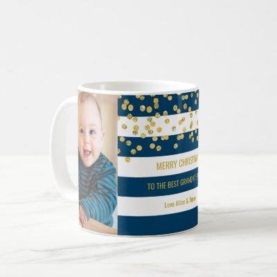 Blue Stripes Gold Photo Best Grandma Christmas Coffee Mug