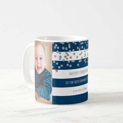 Blue Stripes Silver Photo Best Grandma Christmas Coffee Mug