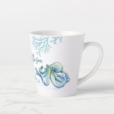 Blue Watercolor Octopus Latte Mug