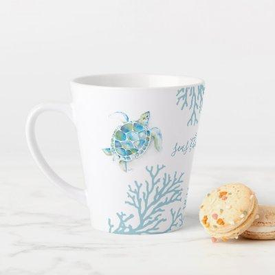 Blue Watercolor Sea Turtle Latte Mug