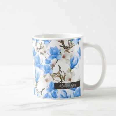 Blue & White Magnolia Blossom Watercolor Pattern Coffee Mug