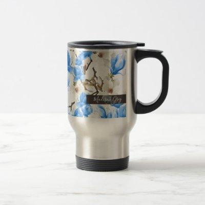 Blue & White Magnolia Blossom Watercolor Pattern Travel Mug