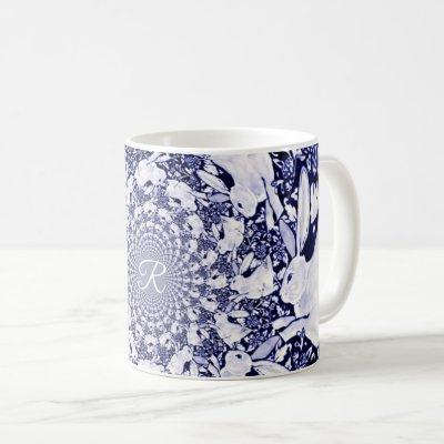 Blue & White Rabbit Bunny Hare Fractal Monogram Coffee Mug