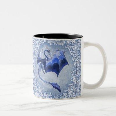 Blue Winter Dragon Fantasy Nature Art Two-Tone Coffee Mug
